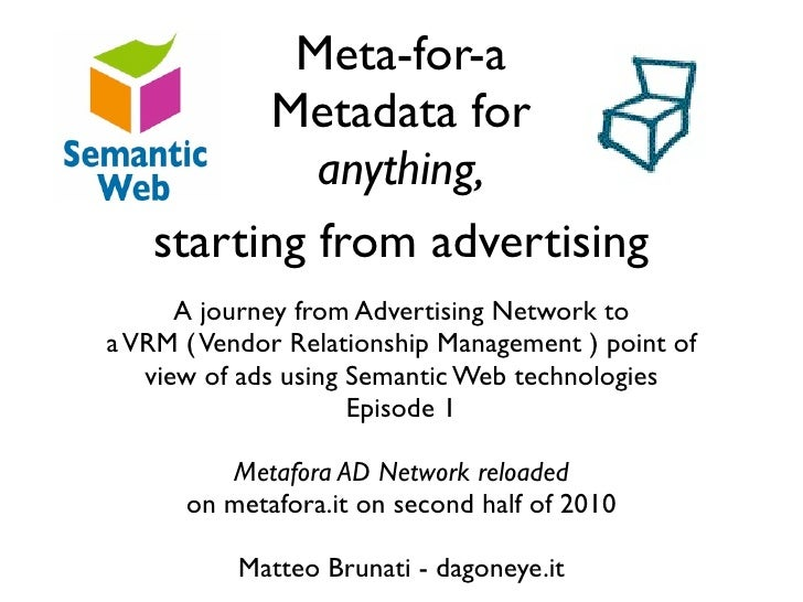 Meta-For-A - Metadata for Anything - Starting from advertising - Metafora AD Network reloaded around social objects thanks to Semantic Web and VRM