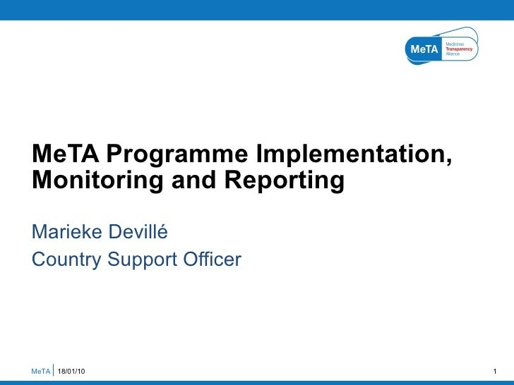MeTA programme implementation, monitoring and reporting