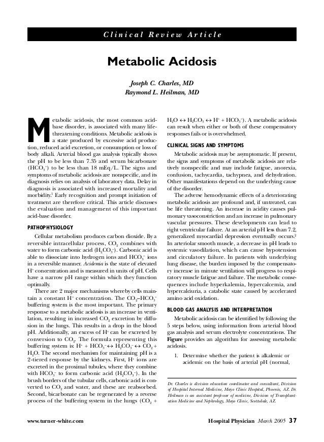 Clinical Review Article                                   Metabolic Acidosis                                           Jos...