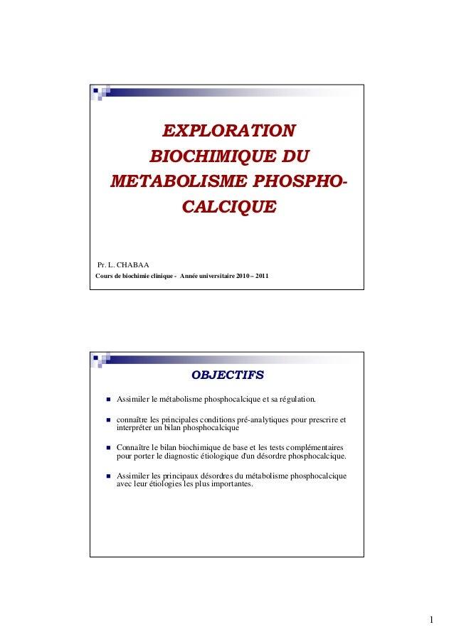 EXPLORATION       BIOCHIMIQUE DU    METABOLISME PHOSPHO-          CALCIQUEPr. L. CHABAACours de biochimie clinique - Année...