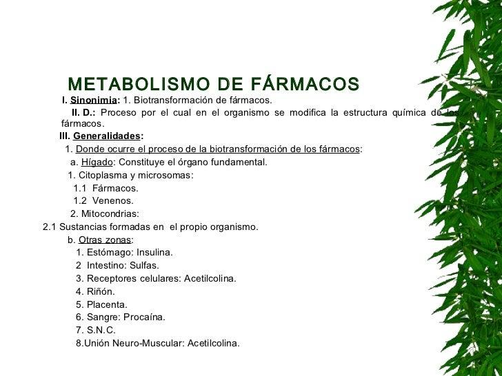 METABOLISMO DE FÁRMACOS   <ul><li>I. Sinonimia :  1. Biotransformación de fármacos. </li></ul><ul><li>II.D.:  Proceso po...