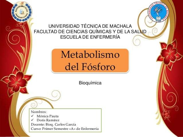 UNIVERSIDAD TÉCNICA DE MACHALA FACULTAD DE CIENCIAS QUÍMICAS Y DE LA SALUD ESCUELA DE ENFERMERÍA  Metabolismo del Fósforo ...