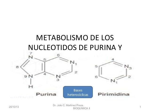 METABOLISMO DE LOS NUCLEOTIDOS DE PURINA Y PIRIMIDINA  Bases heterocíclicas 25/10/13  Dr. Julio C. Martínez Preza. BIOQUIM...