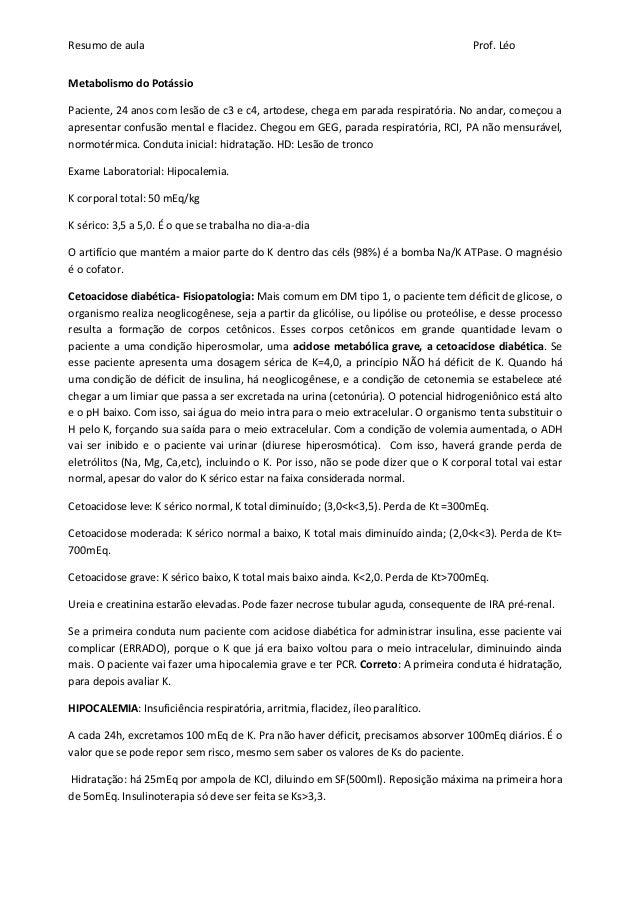 Resumo de aula                                                                       Prof. LéoMetabolismo do PotássioPacie...