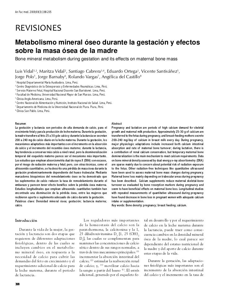 An Fac med. 2008;69(3):198-205REVISIONESMetabolismo mineral óseo durante la gestación y efectossobre la masa ósea de la ma...