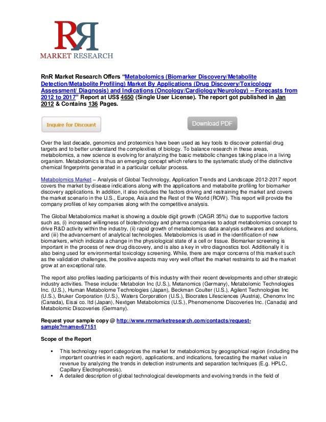 "RnR Market Research Offers ""Metabolomics (Biomarker Discovery/MetaboliteDetection/Metabolite Profiling) Market By Applicat..."