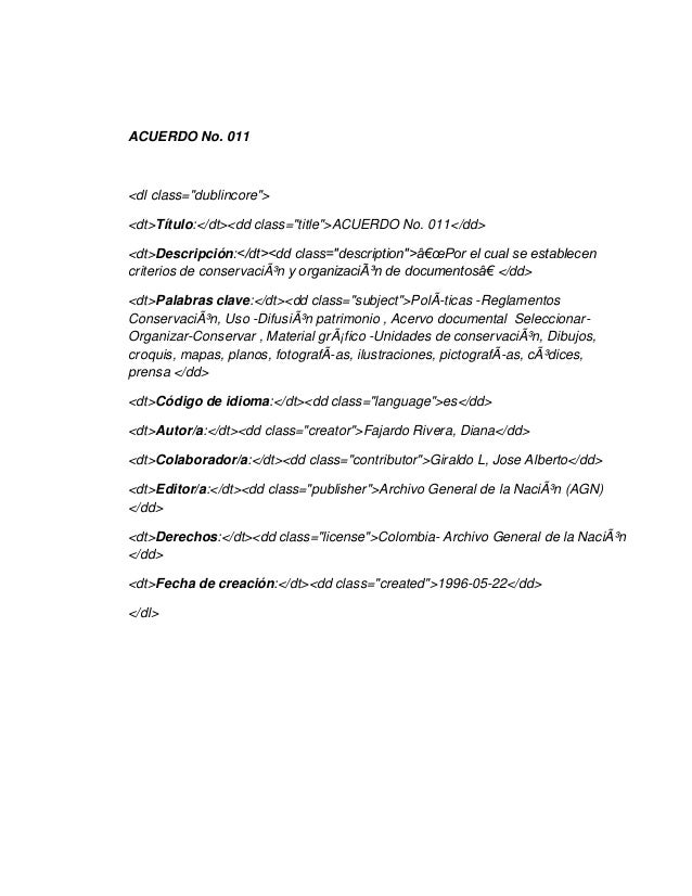 Metadatos  acuerdo no 011.