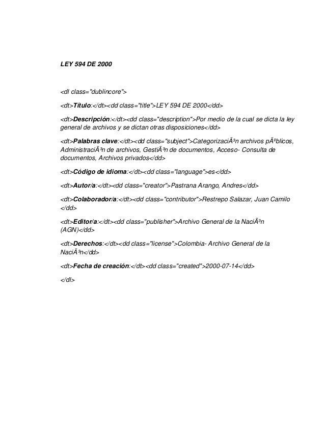 Metadatos  ley 594 de 2000