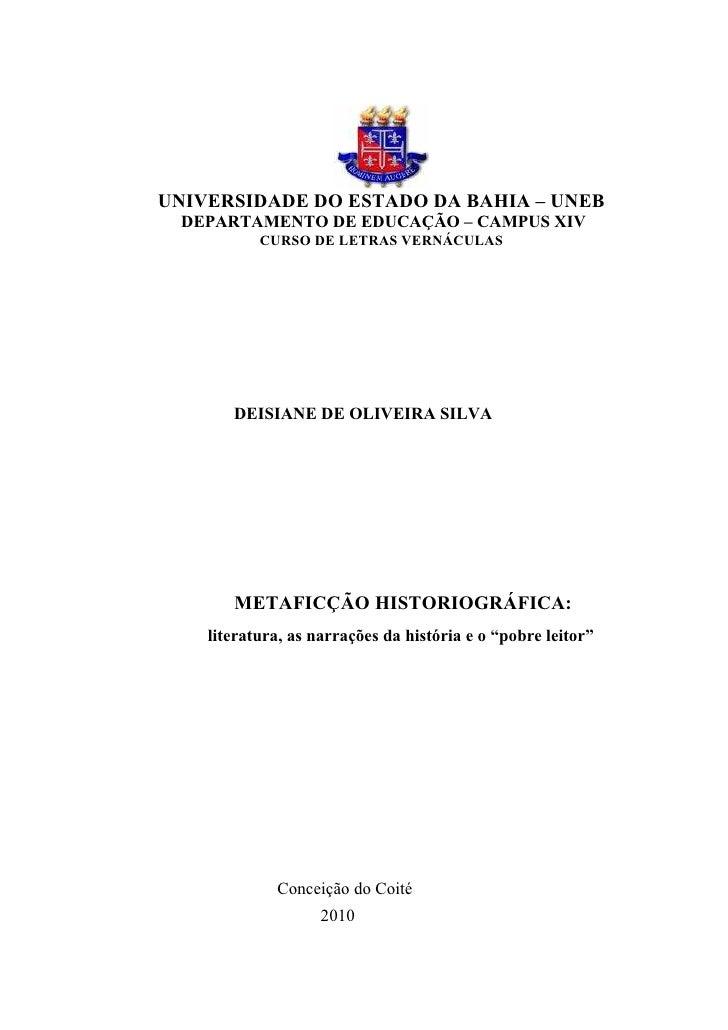 1UNIVERSIDADE DO ESTADO DA BAHIA – UNEB DEPARTAMENTO DE EDUCAÇÃO – CAMPUS XIV           CURSO DE LETRAS VERNÁCULAS       D...