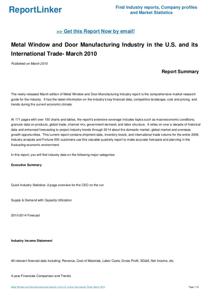 Metal Window and Door Manufacturing Industry in the U.S. and its International Trade- March 2010