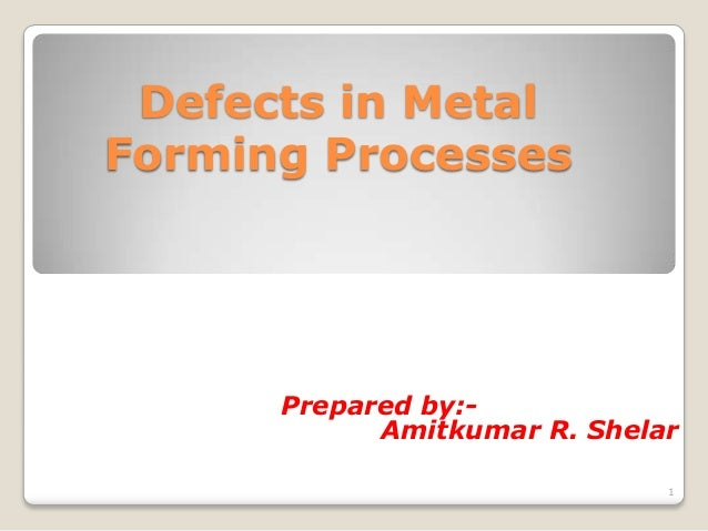 Defects in MetalForming Processes      Prepared by:-            Amitkumar R. Shelar                              1