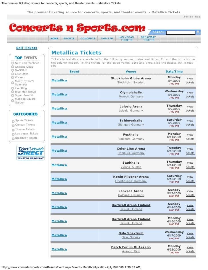 Metallica World Concert Tour Dates for 2009