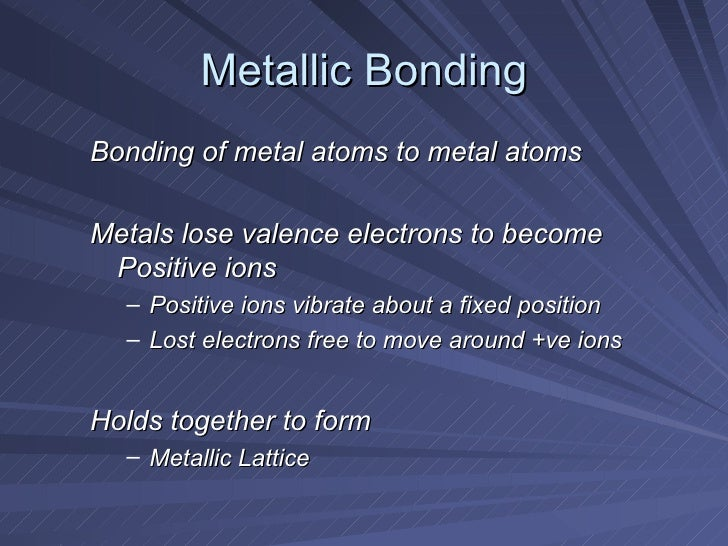 metallic bonding 235 metallic bonding in our discussion of metallurgy we have confined ourselves to discussing the methods employed for obtaining metals in pure form.