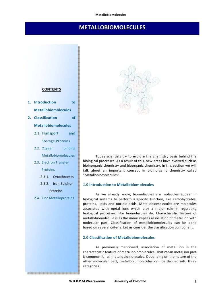 Metallobiomolecules                                     METALLOBIOMOLECULES             CONTENTS   1. Introduction        ...