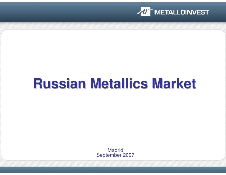 Metalloinvest Presentation on Raw Materials in Russia