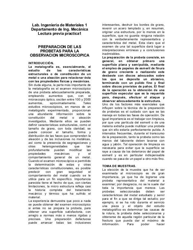 Lab. Ingenieria de Materiales 1 Departamento de Ing. Mecánica Lectura previa practica1 PREPARACION DE LAS PROBETAS PARA LA...