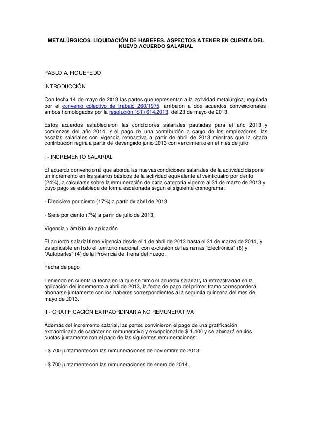 METALÚRGICOS. LIQUIDACIÓN DE HABERES. ASPECTOS A TENER EN CUENTA DELNUEVO ACUERDO SALARIALPABLO A. FIGUEREDOINTRODUCCIÓNCo...