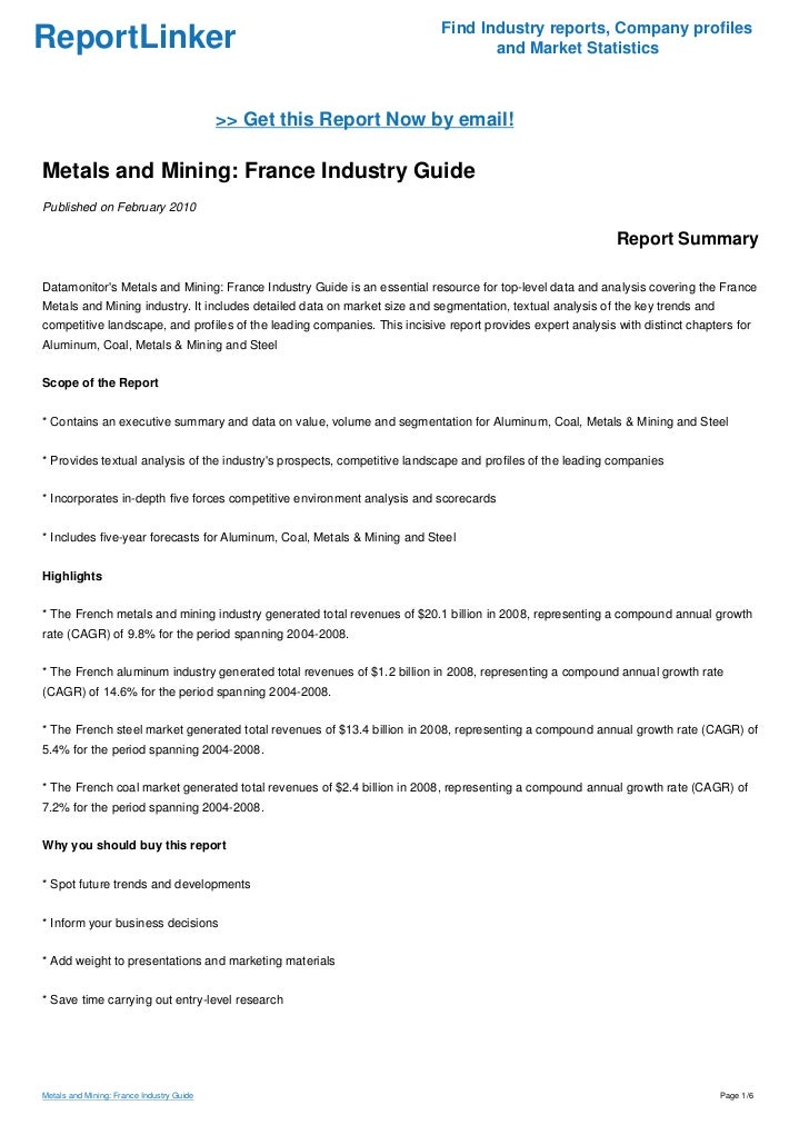 Metals and Mining: France Industry Guide