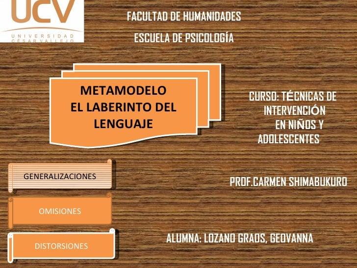 METAMODELO EL LABERINTO DEL LENGUAJE GENERALIZACIONES OMISIONES DISTORSIONES CURSO: T É CNICAS DE  INTERVENCI Ó N  EN NI Ñ...
