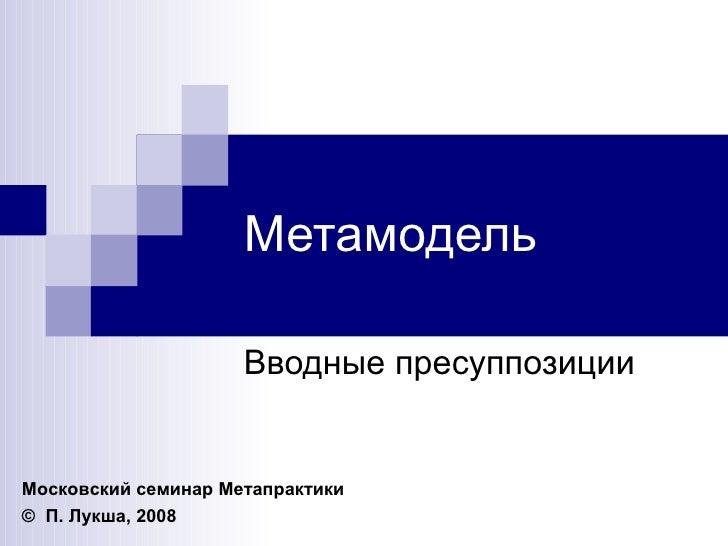 Метамодель Вводные пресуппозиции Московский семинар Метапрактики ©   П. Лукша , 2008