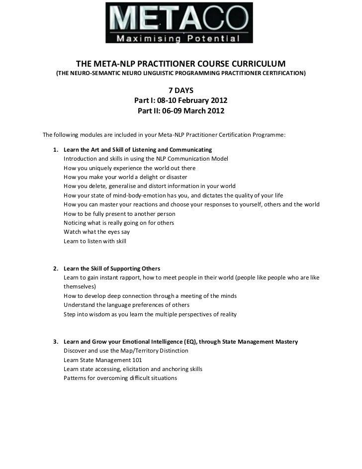 Meta NLP Curriculum