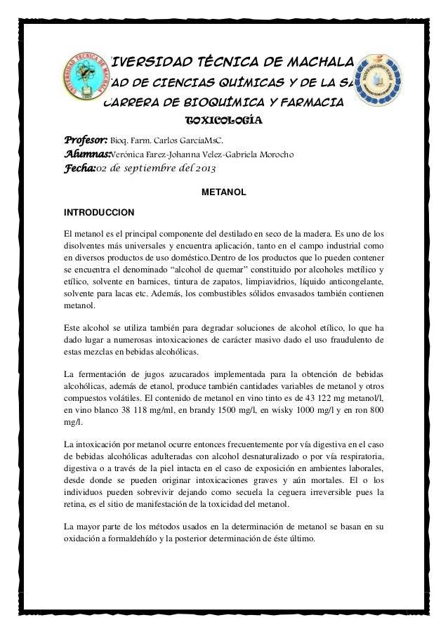 UNIVERSIDAD TÉCNICA DE MACHALA FACULTAD DE CIENCIAS QUÍMICAS Y DE LA SALUD CARRERA DE BIOQUÍMICA Y FARMACIA TOXICOLOGÍA Pr...