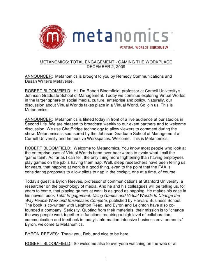 Metanomics Transcript Dec 2