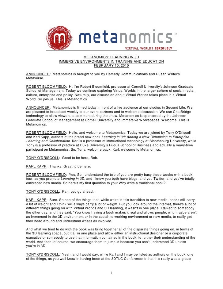 Metanomics Transcript Feb  10 2010