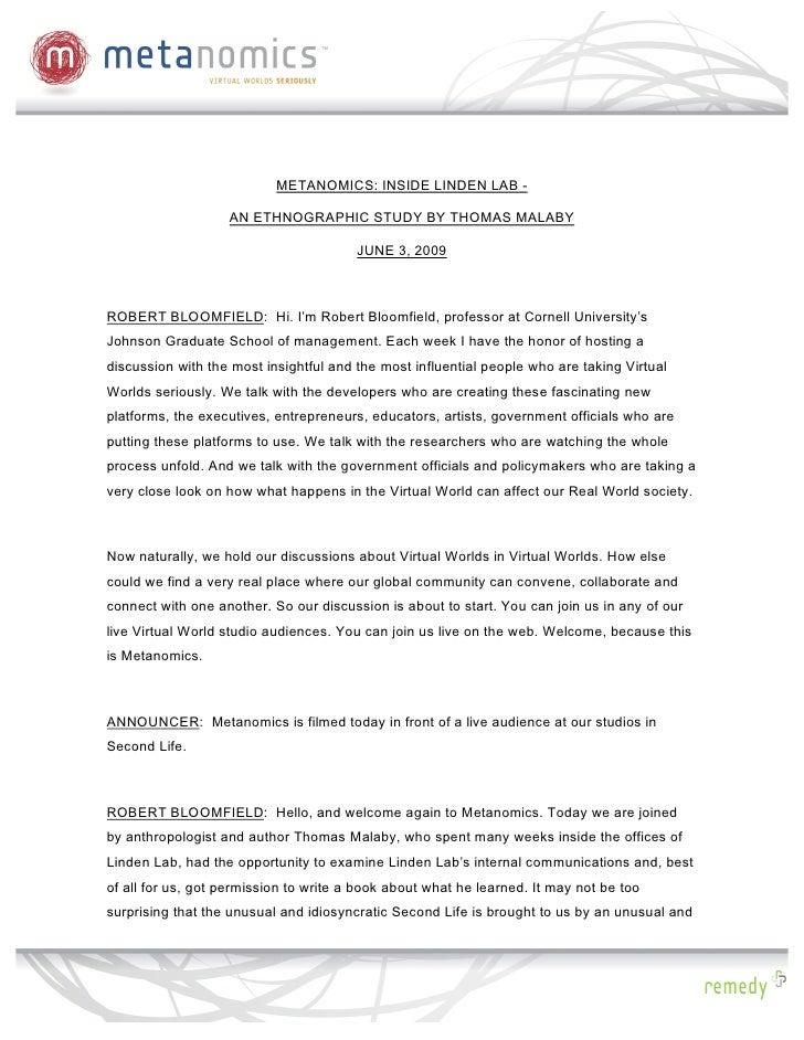 Metanomics Transcript, June 3 2009, Inside Linden Lab