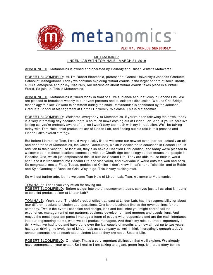 METANOMICS:                             LINDEN LAB WITH TOM HALE - MARCH 31, 2010  ANNOUNCER: Metanomics is owned and oper...