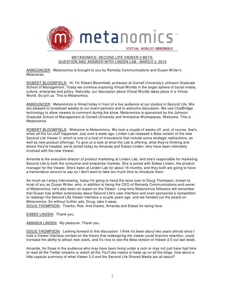 Metanomics Transcript Mar  3 2010