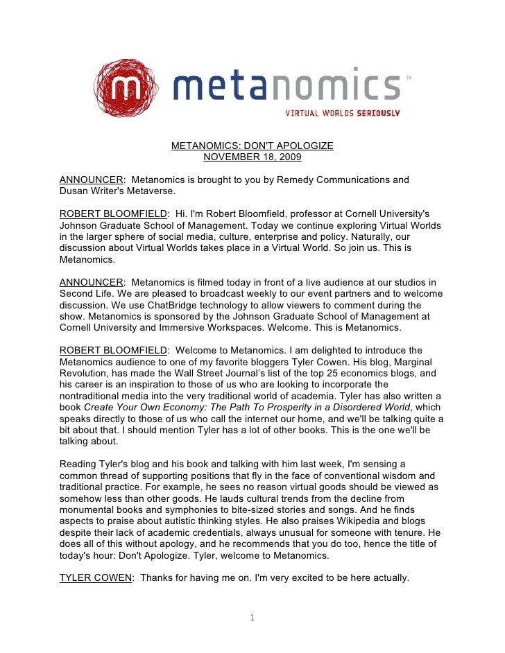Metanomics Transcript Nov 18 2009