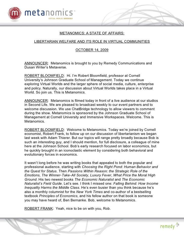 Metanomics Transcript Oct 14 2009