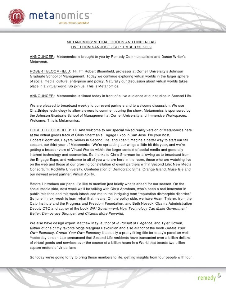 PDF: Virtual Goods Live from San Jose: Metanomics Transcript September 24, 2009
