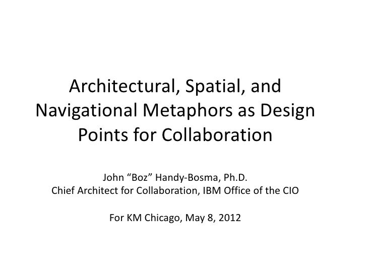 "Architectural, Spatial, andNavigational Metaphors as Design     Points for Collaboration             John ""Boz"" Handy-Bosm..."