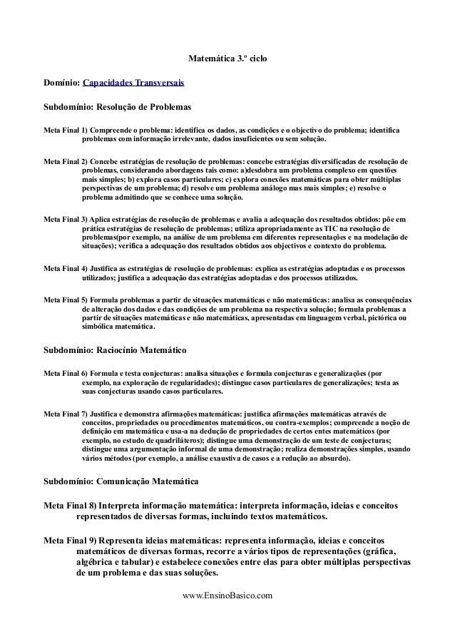 Matemática 3.º ciclo Domínio: Capacidades Transversais Subdomínio: Resolução de Problemas Meta Final 1) Compreende o probl...