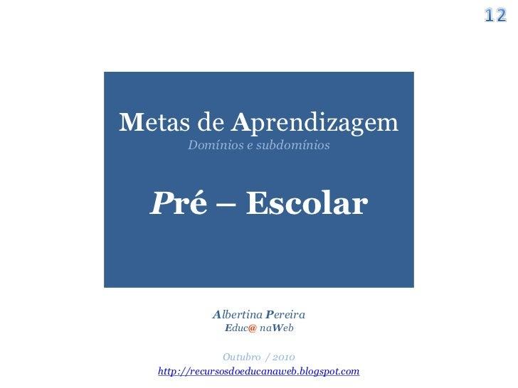 Metas de Aprendizagem para a Educação Pré-escolar. Slide-12-728