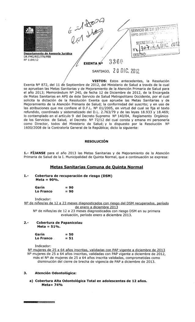 Metas 2013 exenta nº3360 quinta normal