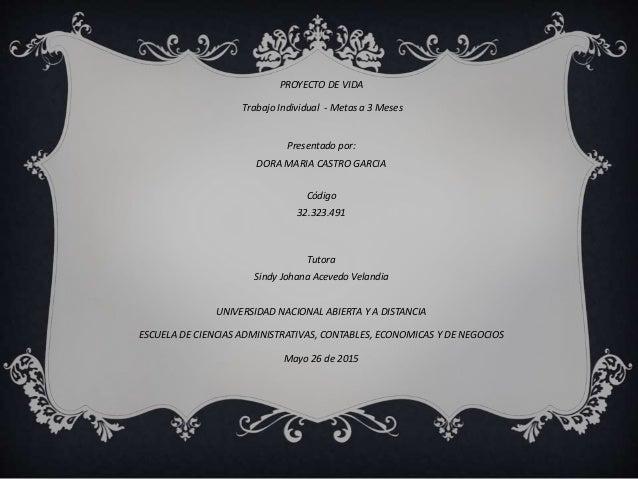 PROYECTO DE VIDA Trabajo Individual - Metas a 3 Meses Presentado por: DORA MARIA CASTRO GARCIA Código 32.323.491 Tutora Si...