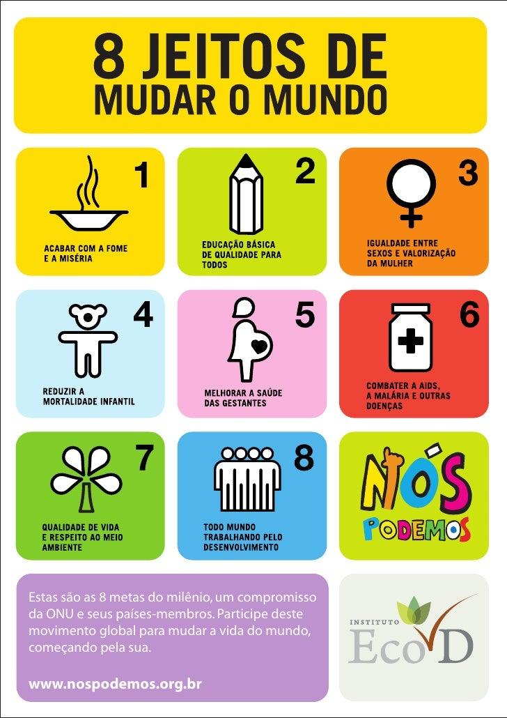 Estas são as 8 metas do milênio, um compromissoda ONU e seus países-membros. Participe destemovimento global para mudar a ...