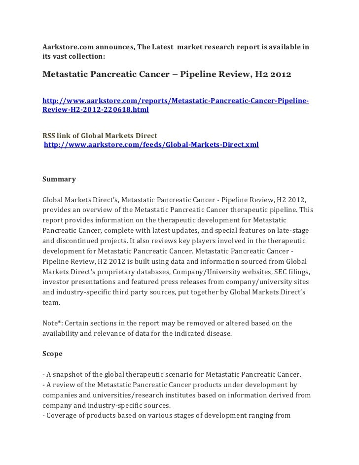 Metastatic pancreatic cancer – pipeline review, h2 2012