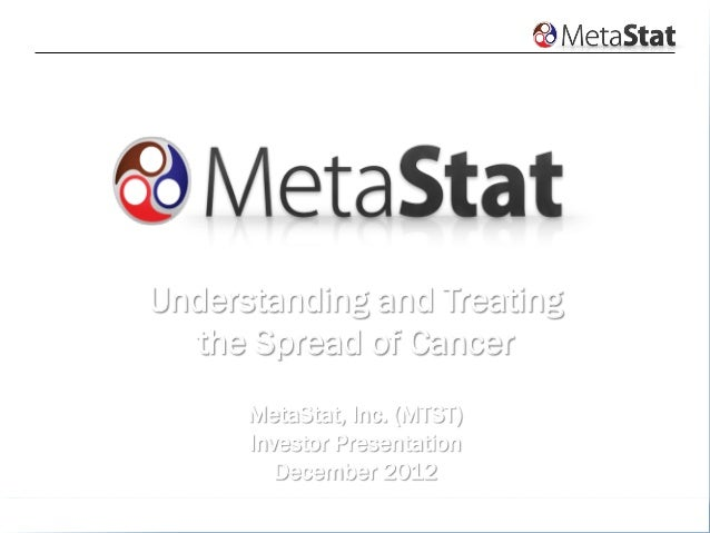 www.metastat.com1UnderstandingThe Spread of CancerUnderstanding and Treatingthe Spread of CancerMetaStat, Inc. (MTST)Inves...
