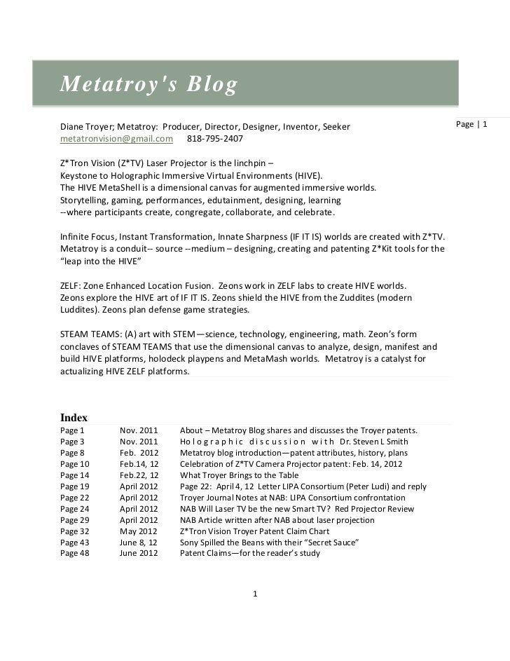 Metatroys BlogDiane Troyer; Metatroy: Producer, Director, Designer, Inventor, Seeker                              Page | 1...