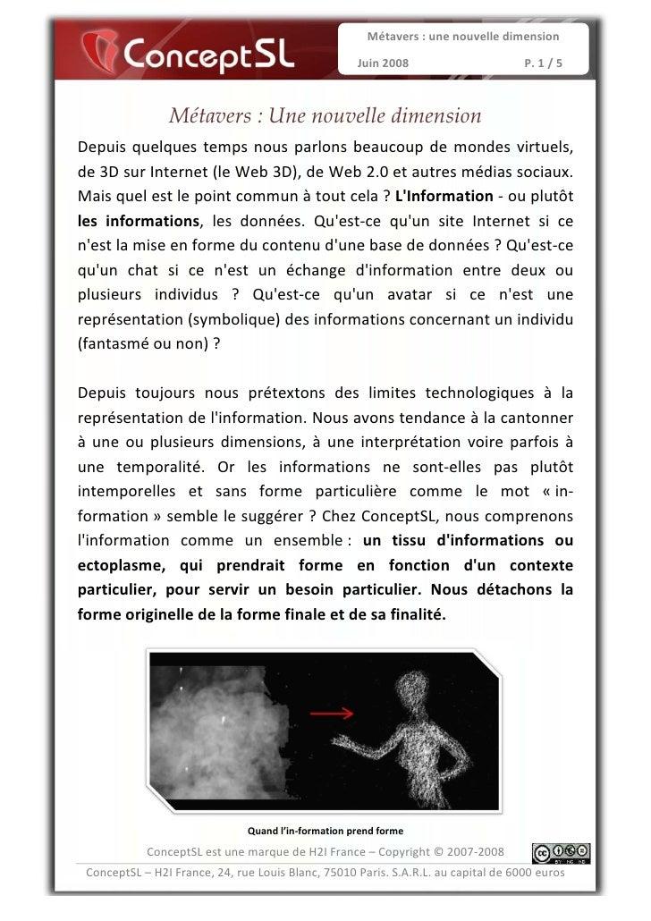 Métavers : une nouvelle dimension                                                      Juin 2008                      P. 1...