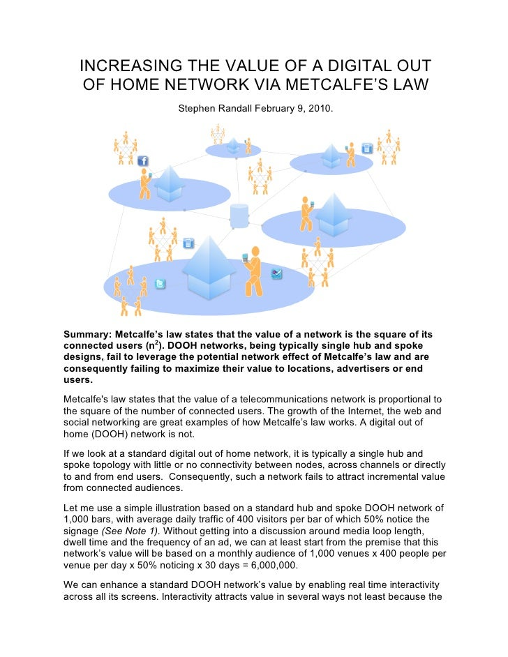 INCREASING THE VALUE OF A DIGITAL OUT     OF HOME NETWORK VIA METCALFE'S LAW                            Stephen Randall Fe...