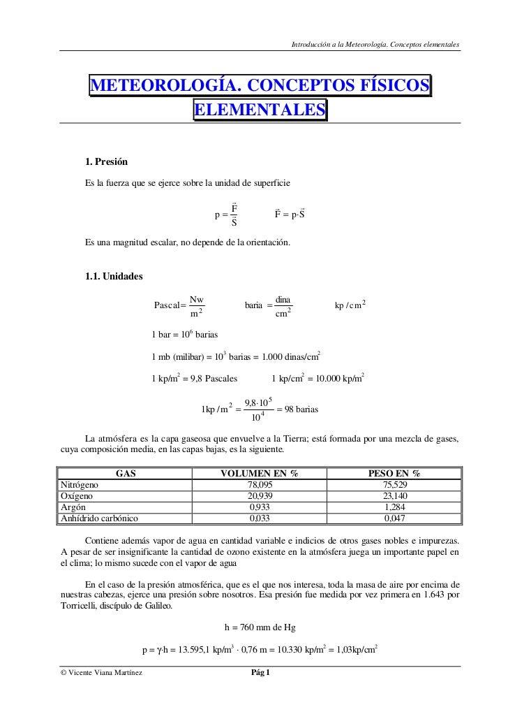 Introducción a la Meteorología. Conceptos elementales        METEOROLOGÍA. CONCEPTOS FÍSICOS                ELEMENTALES   ...