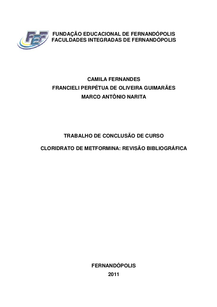 FUNDAÇÃO EDUCACIONAL DE FERNANDÓPOLIS   FACULDADES INTEGRADAS DE FERNANDÓPOLIS              CAMILA FERNANDES   FRANCIELI P...