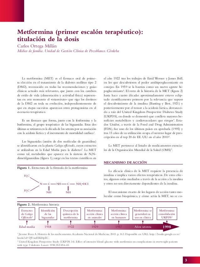 3 Metformina (primer escalón terapéutico): titulación de la dosis Carlos Ortega Millán Médico de familia. Unidad de Gestió...
