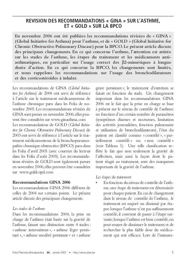Folia Pharmacotherapeutica 34, janvier 2007 • http://www.cbip.be  REVISION DES RECOMMANDATIONS «GINA» SUR L'ASTHME, ...