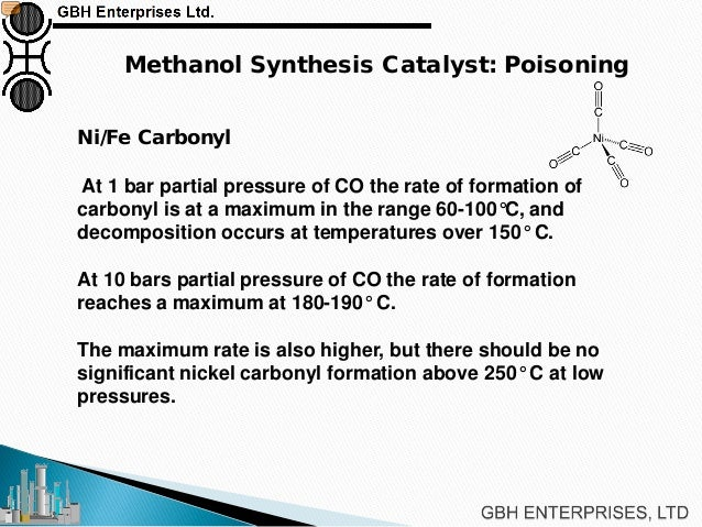 methanol sythesis Methanol or methyl alcohol (mp = -978c, bpl013 = 646 , dio = 0792(11) pra- duced by the distillation of wood accounts for only a few per cent of total production this also applies to its production by the direct oxidation of hydrocarbons.